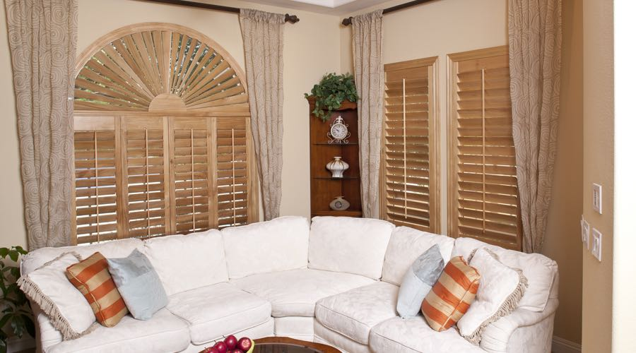 Arched Ovation Wood Shutters In Detroit Living Room