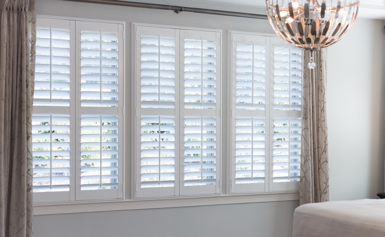 Detroit plantation shutters bedroom