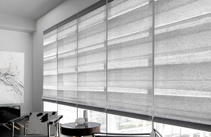 Light shades covering large business window