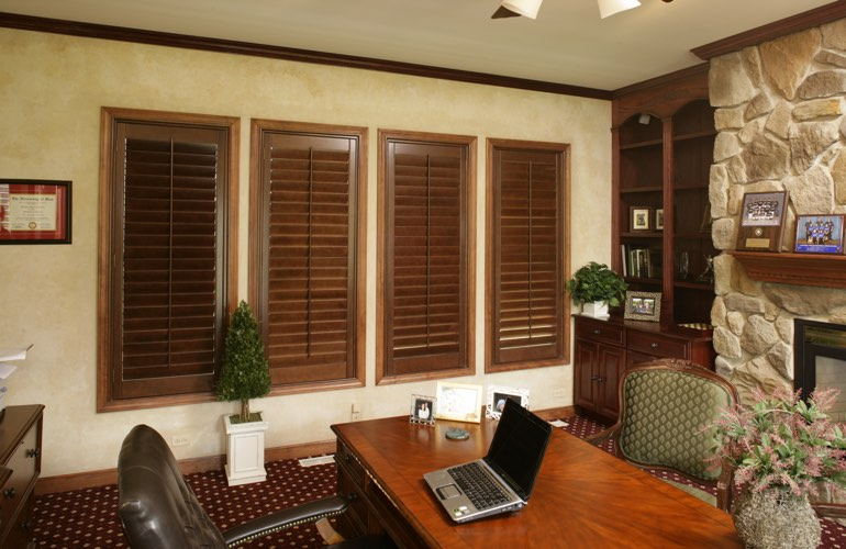 Wooden plantation shutters in a Detroit home office
