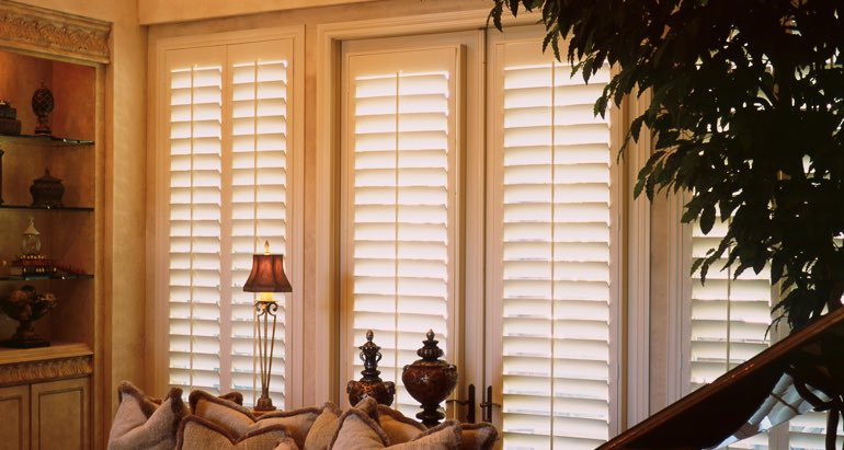 Plantation shutters on french door and window in Detroit living room