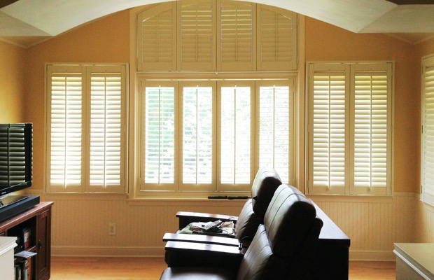 Detroit plantation shutters in home theater