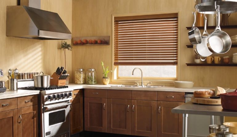 Detroit kitchen faux wood blinds.