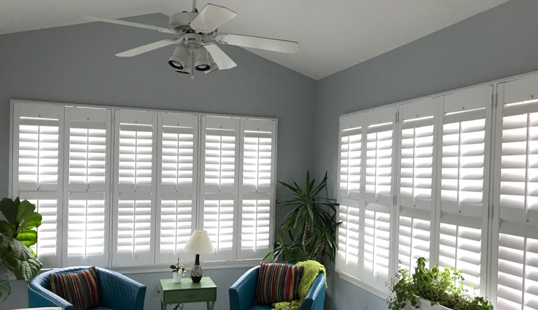 Detroit sunroom with fan and shutters