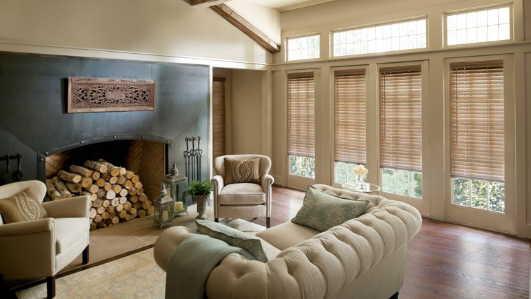Detroit fireplace with blinds