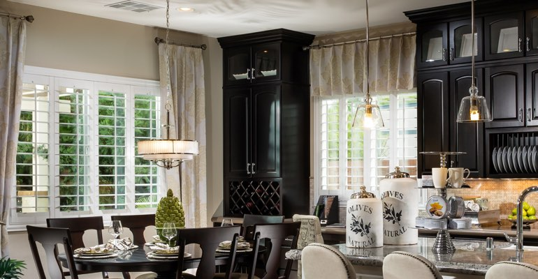 Detroit kitchen dining room with plantation shutters.
