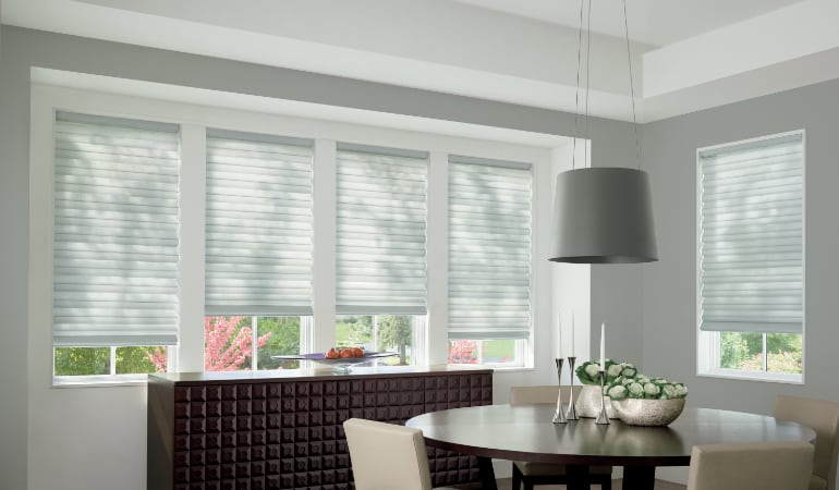 Cellular shades in a Detroit dining room.