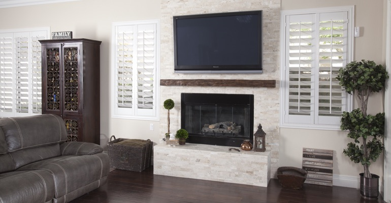 interior shutters in Detroit family room