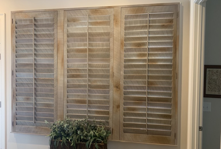 Closed reclaimed wood shutters in Detroit