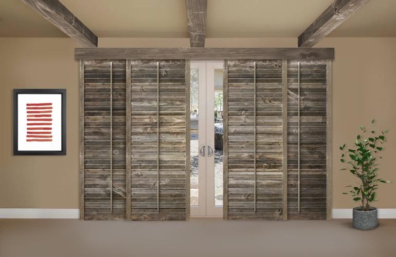 Reclaimed Wood Shutters On A Sliding Glass Door In Detroit - Reclaimed Wood Shutters For Sale Sunburst Shutters Detroit, MI