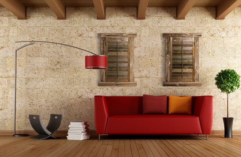 Reclaimed Wood Shutters In A Detroit Living Room. - Reclaimed Wood Shutters For Sale Sunburst Shutters Detroit, MI