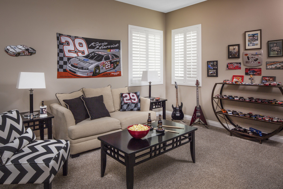 Detroit man cave with shutters