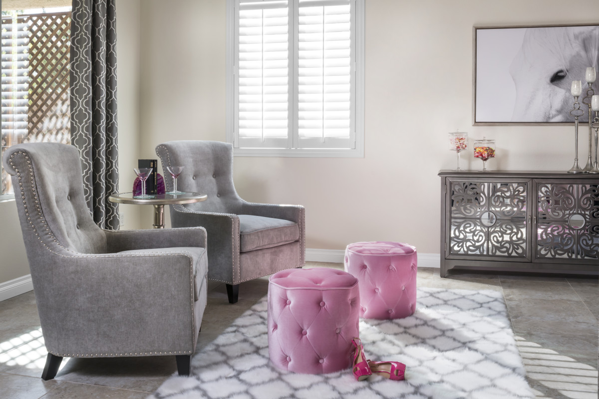 Detroit pink living room with shutters