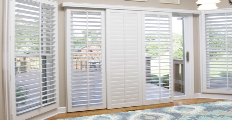 [Polywood|Plantation|Interior ]211] shutters on a sliding glass door in Detroit