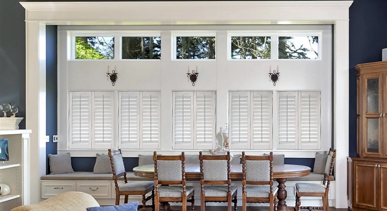 Detroit great room with Studio plantation shutters.