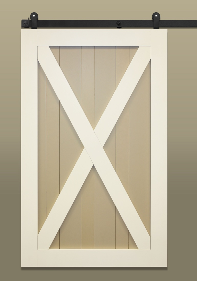 Traditional sliding barn door with X brace with contrasting paint
