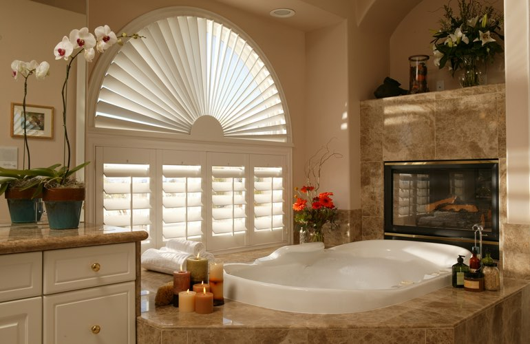 Sunray shutters in a Detroit bathroom.