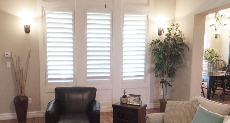 Detroit family room white shutters