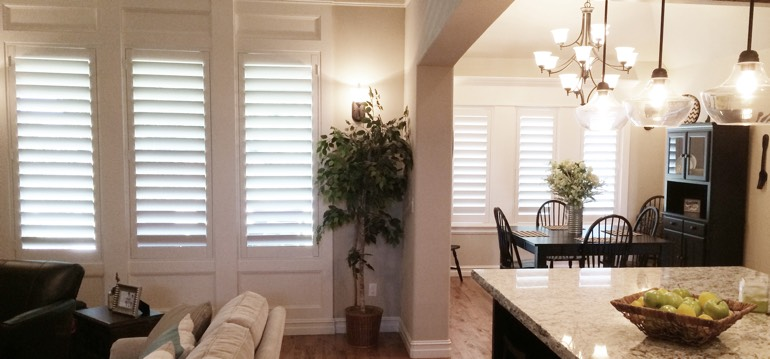 Detroit shutters in dining room and living room