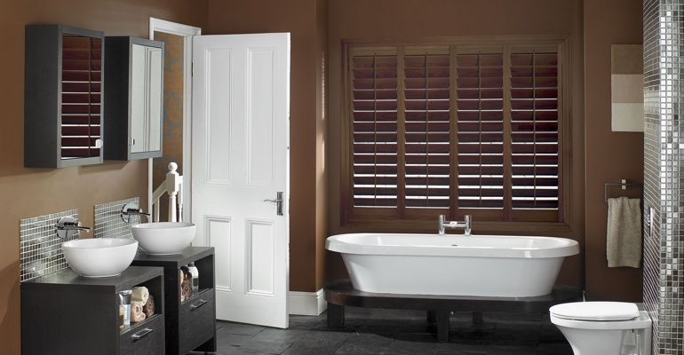 Detroit bathroom shutters wood stain
