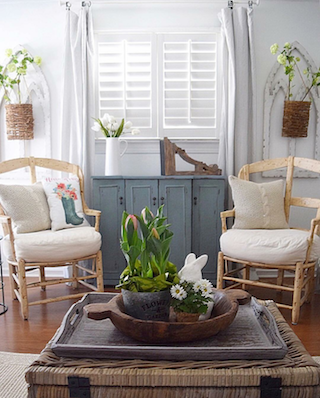 White shutters in breezy room.