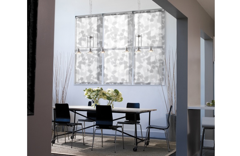 Patterned roller shades in a contemporary room