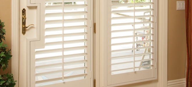 French door with cutout for shutters