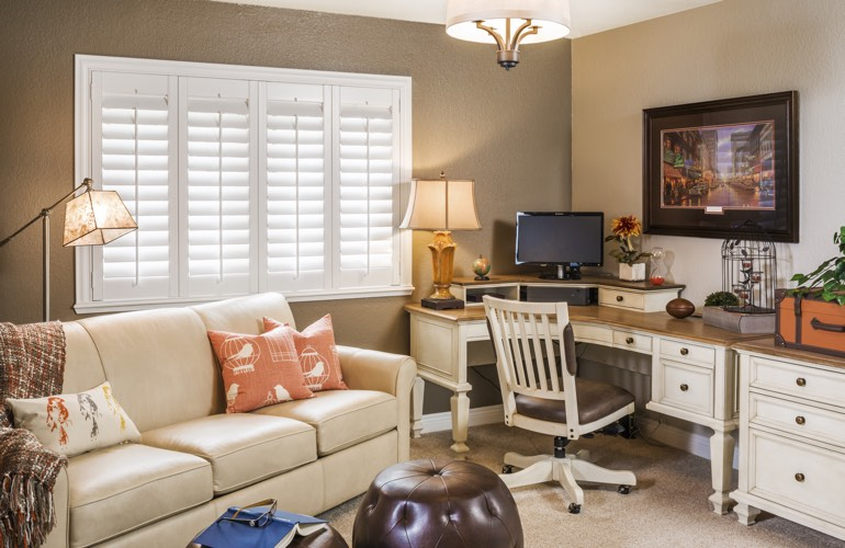 Detroit home office with plantation window shutters.