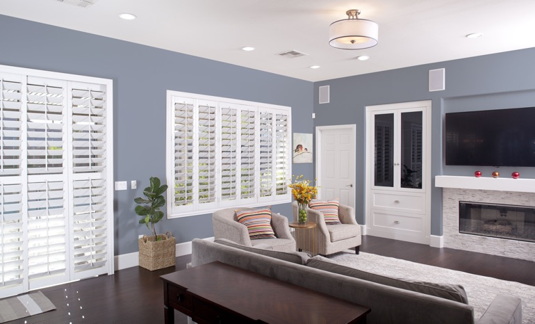 Plantation Shutters In A Detroit Living Room.