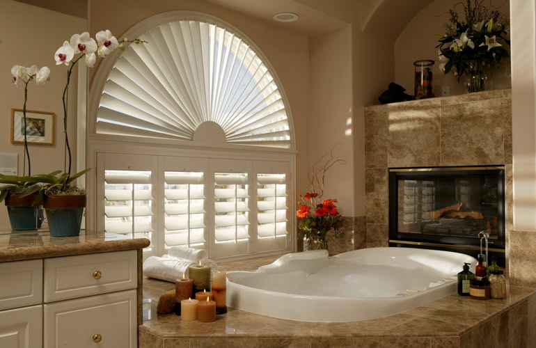 Our Professionals Installed Shutters On A Sunburst Arch Window In Detroit, MI