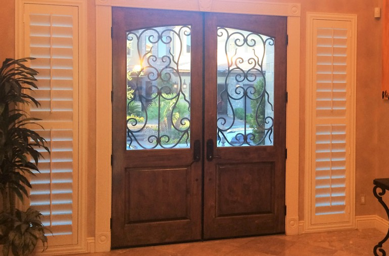 Sidelight window shutters in Detroit house