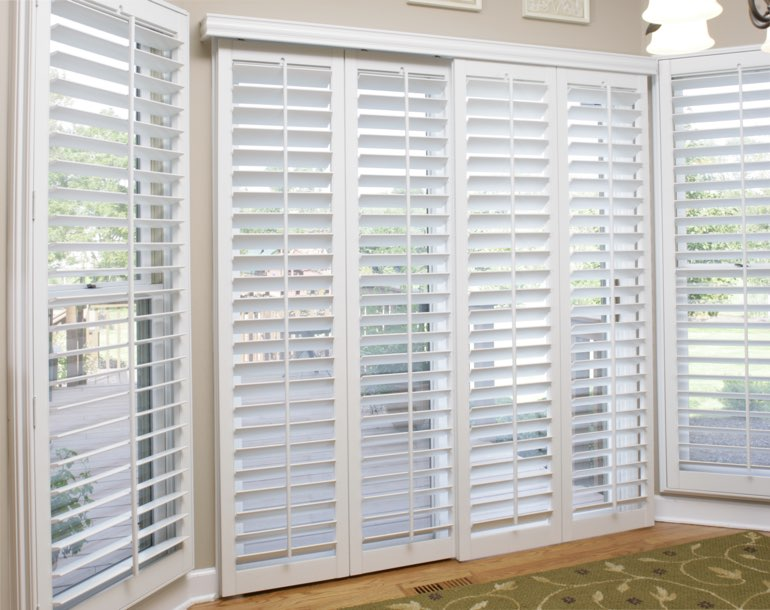 Sliding glass door with white shutters Detroit